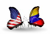 Two Butterflies With Flags On Wings As Symbol Of Relations Usa And Venezuela