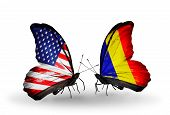 image of chad  - Two butterflies with flags on wings as symbol of relations USA and Chad Romania - JPG
