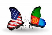 Two Butterflies With Flags On Wings As Symbol Of Relations Usa And Eritrea