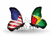 Two Butterflies With Flags On Wings As Symbol Of Relations Usa And Guyana