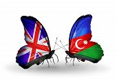 Two Butterflies With Flags On Wings As Symbol Of Relations Uk And Azerbaijan