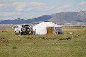 Tourist mini bus parked at the yurt, circa Harhorin, Mongolia.