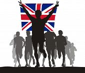 Winner of the athletics competition with the United Kingdom flag at the finish