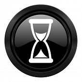 time black icon hourglass sign