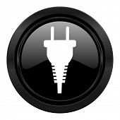 plug black icon electric plug sign