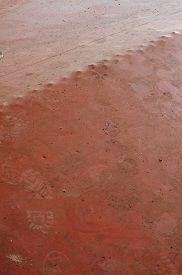 picture of linoleum  - Linoleum flooring red old abstract background interior - JPG