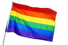 image of gay pride  - a rainbow flag waving on a white background - JPG
