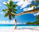 picture of swing  - Woman in blue dress swinging at tropical beach - JPG