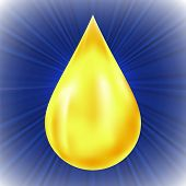 stock photo of oil drop  - Yellow Oil Drop on Blue Wave Background - JPG
