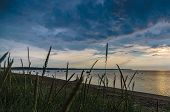 stock photo of sea oats  - Dramatic cloudscape sunset at sea gulf with tall grass on beach - JPG