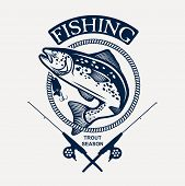 stock photo of trout fishing  - Vintage trout fishing emblems - JPG