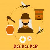 picture of honey bee hive  - Beekeeping concept with beekeper in hat and apiculture symbols around him including honey jar - JPG