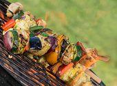 pic of braai  - Tasty skewers on the grill - JPG