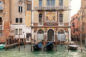 image of gondola  - Beautiful view with old venetian houses and gondola on the Grand Canal - JPG