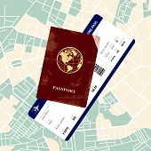 stock photo of boarding pass  - International red passport with a boarding pass on a map - JPG