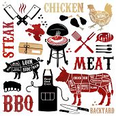 pic of pinafore  - Barbecue pattern with meaty icons - JPG