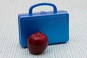 image of school lunch  - School Lunch A Blue Lunch Box and a Red Apple over a distressed wood background - JPG