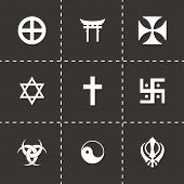 foto of noah  - Vector religious symbols icon set on black background - JPG