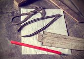 pic of carpentry  - Old traditional carpentry tools retro vintage style - JPG