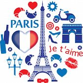 stock photo of moulin rouge  - Red and blue Paris illustration pattern - JPG