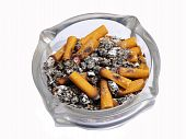 Ashtray full of cigarette in white background