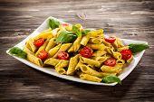 image of pesto sauce  - Pasta with pesto sauce and vegetables - JPG