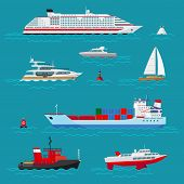 picture of ship  - Sea ships flat icons - JPG