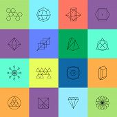Geometric icons for Hipster logotypes poster