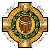 image of hop-plant  - Beer Label Background with barrel and hop pattern - JPG