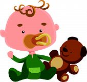 picture of baby bear  - Cute baby with a teddy bear vector illustration cartoon character - JPG