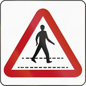 stock photo of pedestrian crossing  - Bruneian sign warning about a pedestrian crossing - JPG