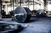 stock photo of strength  - Closeup image of a fitness equipment in gym - JPG