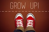 image of politeness  - Grow Up Reminder for Young Person in Red Sneakers about to make a Step and Join the Party Top View - JPG