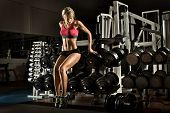 image of execution  - beautiful girl bodybuilder execute exercise with weight - JPG