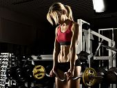 picture of execution  - beautiful girl bodybuilder execute exercise with weight in dark gym - JPG