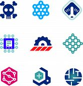 picture of virus scan  - Deadly security problem computer virus system scan prototype logo icons - JPG