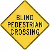 stock photo of pedestrian crossing  - US road warning sign - JPG
