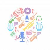 stock photo of semi-circle  - Multicolored music instruments silhouette in  circle shape - JPG
