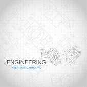 stock photo of mechanical engineering  - Engineering background with technical drawing - JPG