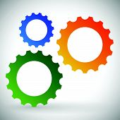 picture of rework  - Gears cogwheels icon graphics for maintenance repair manufacturing and development concepts - JPG