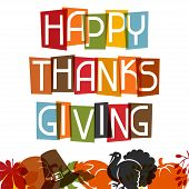 Happy Thanksgiving Day card design with holiday objects poster