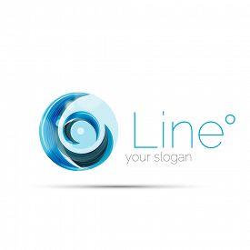 foto of logo  - Swirl company blue logo design - JPG