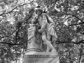 picture of william shakespeare  - Statue of William Shakespeare built in 1874 in Leicester Square in London UK in black and white - JPG