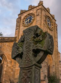 picture of celtic  - A burial headstone in Campsie High Church with Celtic markings - JPG