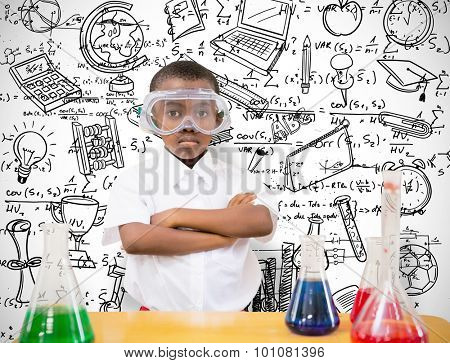pupil conducting science experiment against white background with