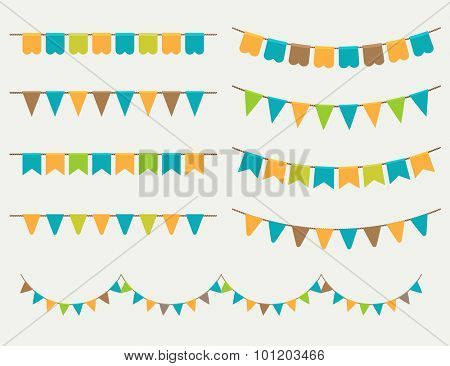 Vector Illustration of colorful flag carlands on grey background. Retro colors buntings and flags. H