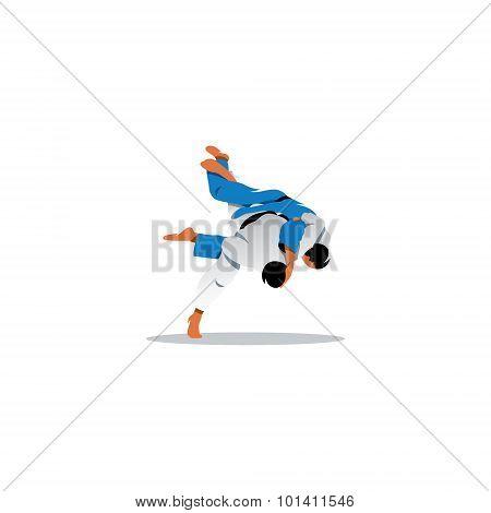 Judo Sign Two Judoka Fighting