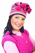 Portrait Of Smiling Woman In Pink Knit Cap
