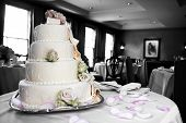 Wedding Cake In Mixed Color And Black And White