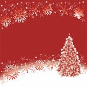 Snowflakes And Christmas Tree Red And White Winter Abstract Back